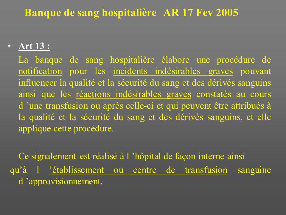 Banque de sang hospitalière AR 17 Fev 2005 Art 13 : La banque de sang hospitalière élabore une procédure de notification pour les incidents indésirabl