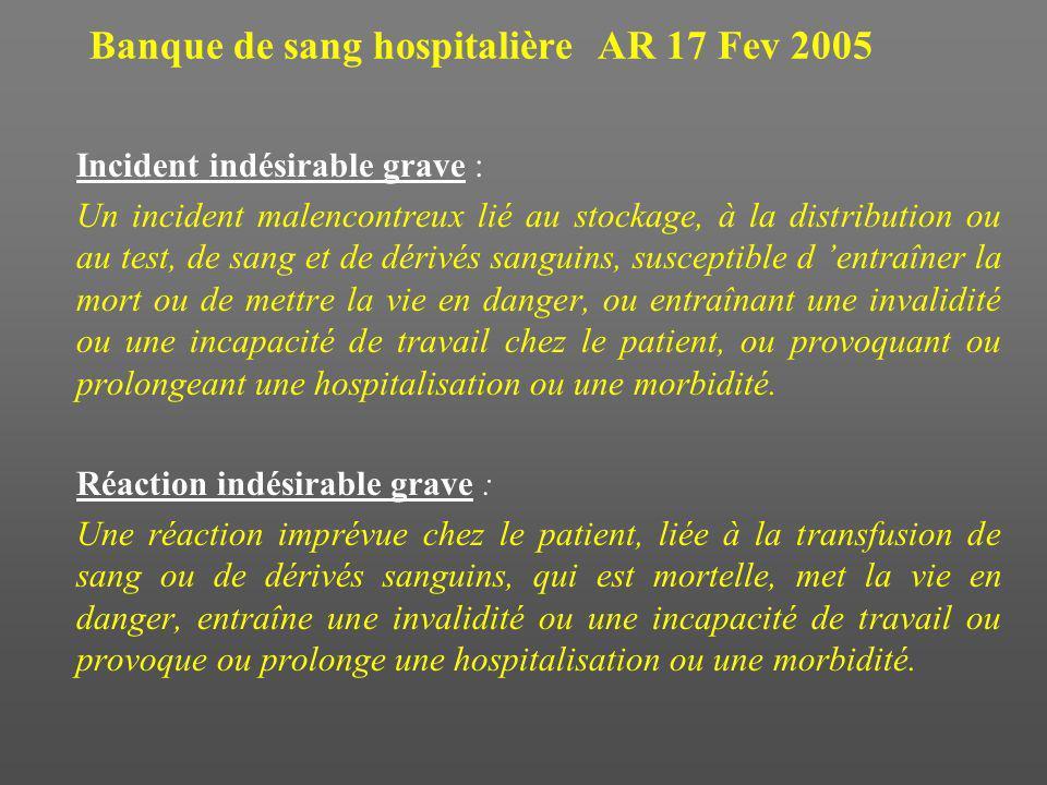 Banque de sang hospitalière AR 17 Fev 2005 Incident indésirable grave : Un incident malencontreux lié au stockage, à la distribution ou au test, de sa