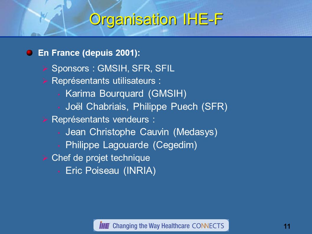 11 Organisation IHE-F En France (depuis 2001): Sponsors : GMSIH, SFR, SFIL Représentants utilisateurs : Karima Bourquard (GMSIH) Joël Chabriais, Phili