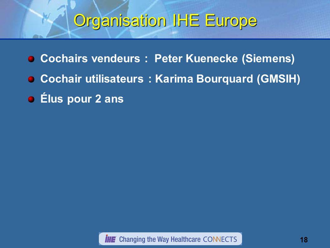 18 Organisation IHE Europe Cochairs vendeurs : Peter Kuenecke (Siemens) Cochair utilisateurs : Karima Bourquard (GMSIH) Élus pour 2 ans
