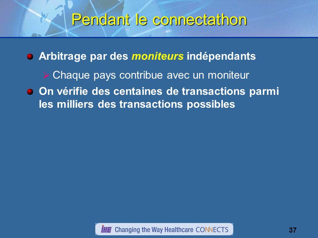 37 Pendant le connectathon Arbitrage par des moniteurs indépendants Chaque pays contribue avec un moniteur On vérifie des centaines de transactions parmi les milliers des transactions possibles