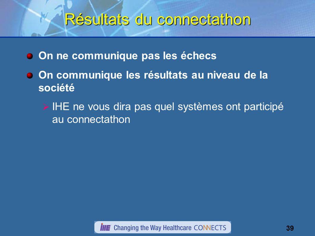 39 Résultats du connectathon On ne communique pas les échecs On communique les résultats au niveau de la société IHE ne vous dira pas quel systèmes ont participé au connectathon