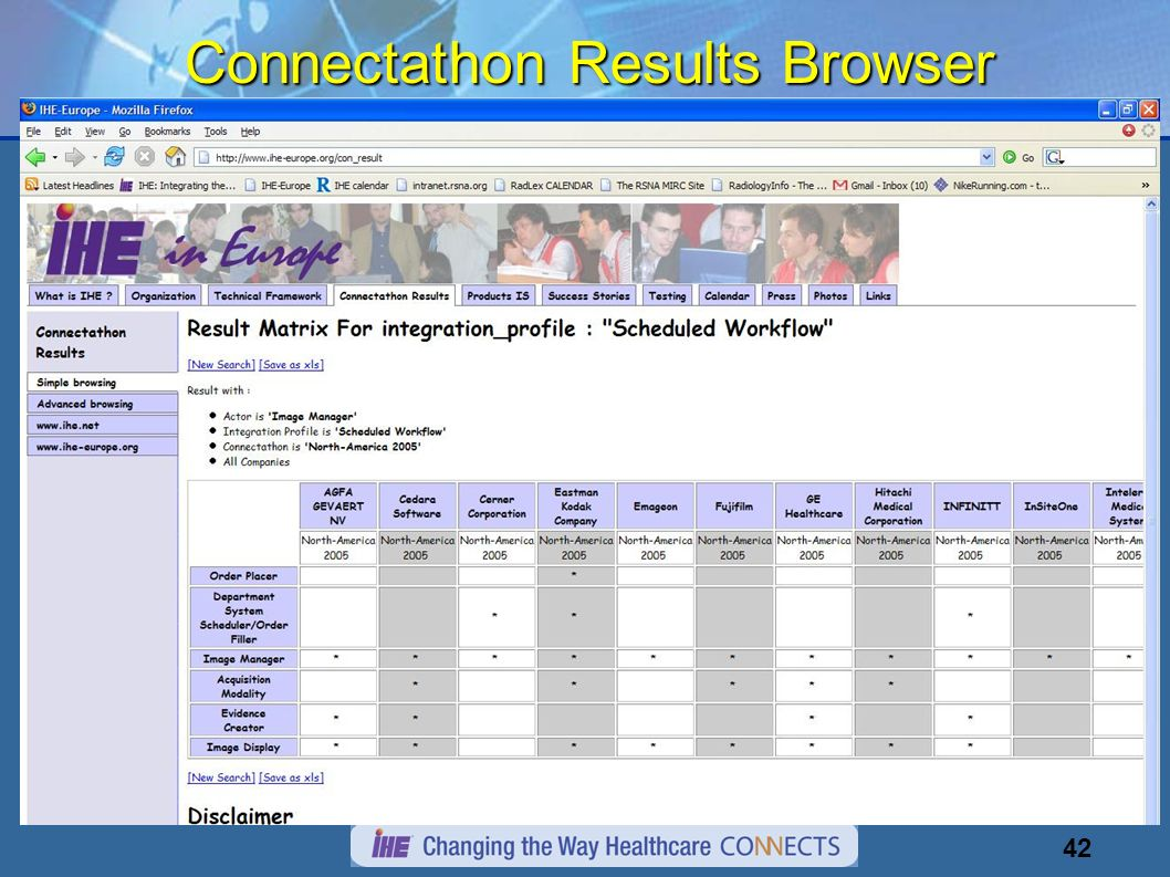42 Connectathon Results Browser