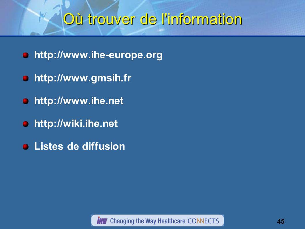 45 Où trouver de l information http://www.ihe-europe.org http://www.gmsih.fr http://www.ihe.net http://wiki.ihe.net Listes de diffusion