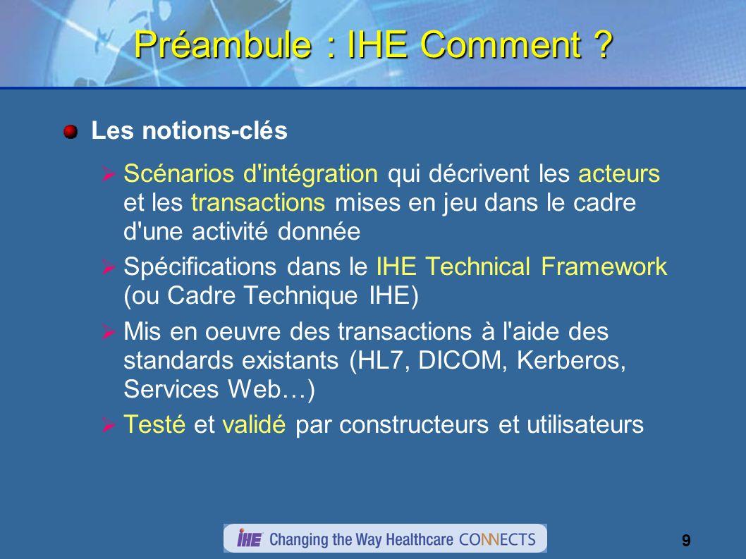 9 Préambule : IHE Comment .