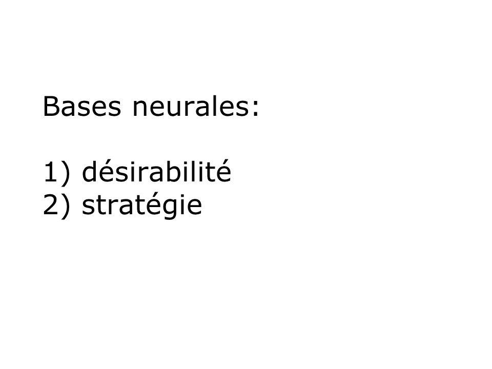Bases neurales: 1) désirabilité 2) stratégie