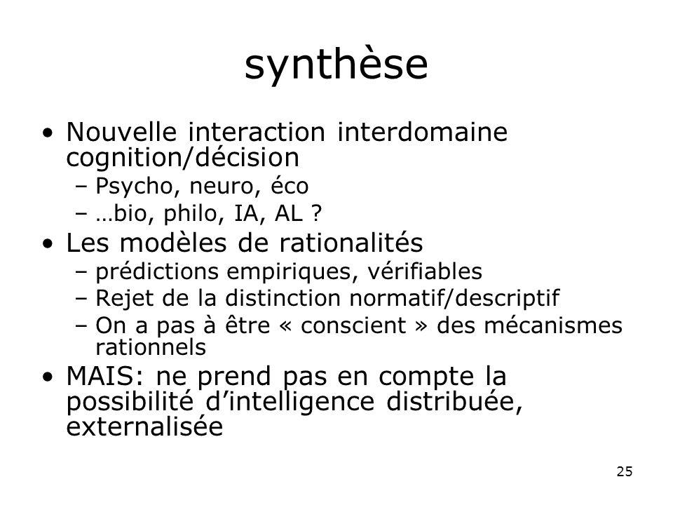 25 synthèse Nouvelle interaction interdomaine cognition/décision –Psycho, neuro, éco –…bio, philo, IA, AL .