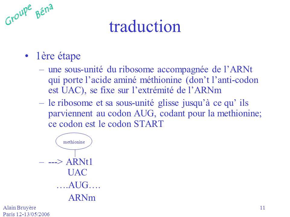 GroupeBéna Alain Bruyère Paris 12-13/05/2006 11 traduction 1ère étape –une sous-unité du ribosome accompagnée de lARNt qui porte lacide aminé méthioni