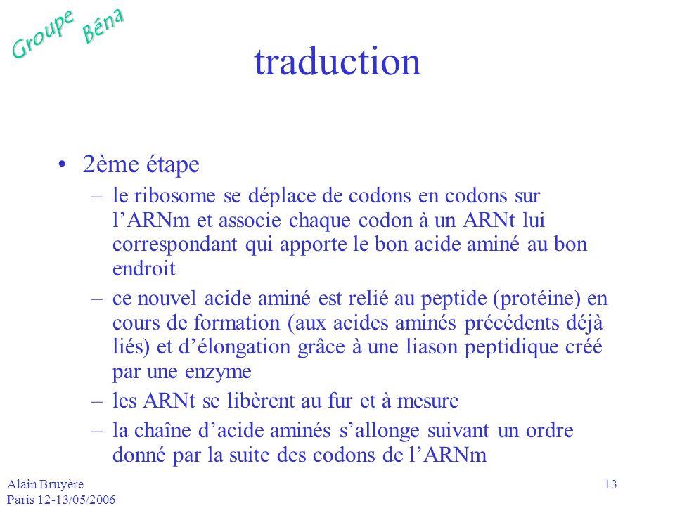GroupeBéna Alain Bruyère Paris 12-13/05/2006 13 traduction 2ème étape –le ribosome se déplace de codons en codons sur lARNm et associe chaque codon à