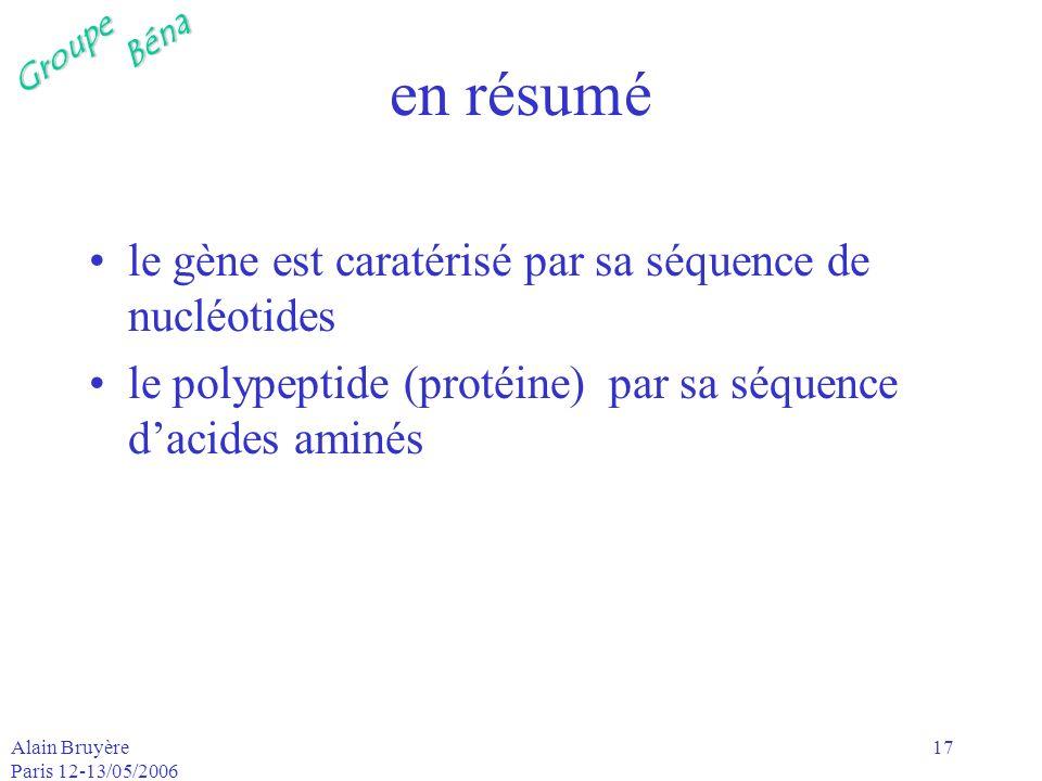 GroupeBéna Alain Bruyère Paris 12-13/05/2006 17 en résumé le gène est caratérisé par sa séquence de nucléotides le polypeptide (protéine) par sa séque