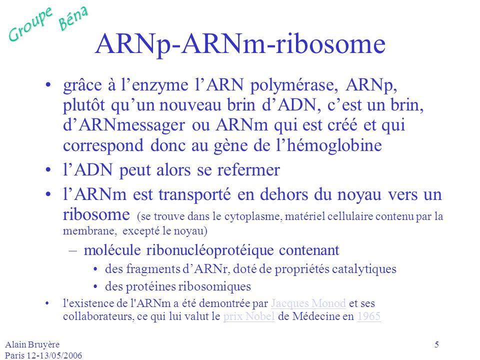 GroupeBéna Alain Bruyère Paris 12-13/05/2006 6 ribosome-code génétique ribosome : la « machine » assurant la traduction de la molécule dARNm dans la fabrication des protéines le code génétique assure la correspondance entre la séquence des codons de lARNm et la séquence des acides aminés du polypeptide (protéine de 20 à 100 acides aminés)