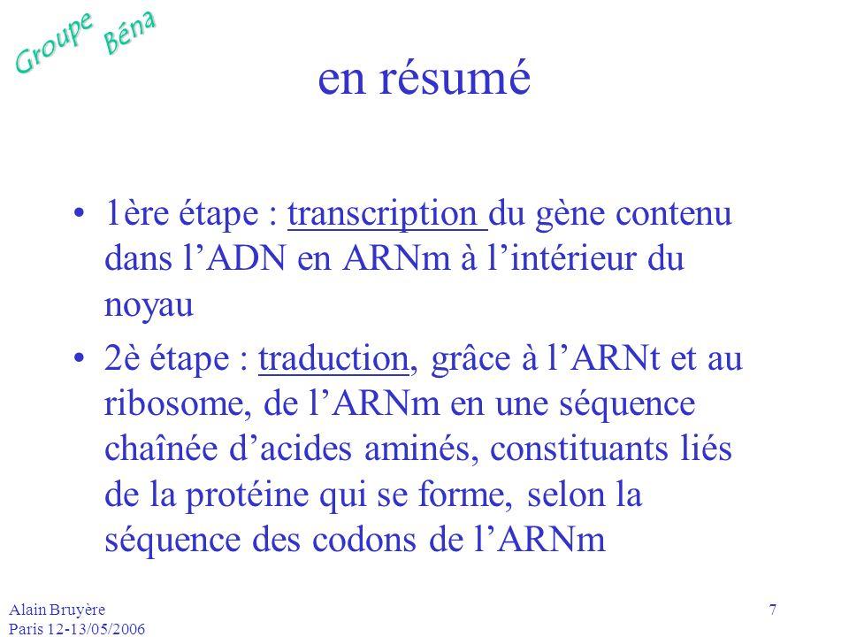 GroupeBéna Alain Bruyère Paris 12-13/05/2006 8 codons la séquence des bases de lADN est comparable à la séquence des lettres dun texte codons : ce sont les mots du langage génétique –ils ont tous la même longueur –ce sont des triplets de nucléotides A, C, G, T (U pour lARN) –il existe 4³=64 combinaisons possibles de ces 4 lettres en triplets –3 codons signifient la fin de la traduction (codons STOP) : UAA, UAG, UGA –1 codon est toujours le codon start : AUG
