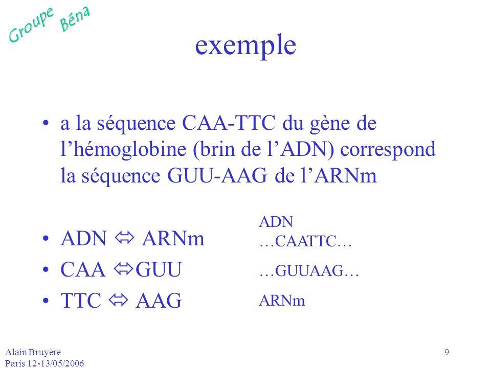 GroupeBéna Alain Bruyère Paris 12-13/05/2006 10 ARNt lARNm est transporté à lextérieur du noyau vers un ribosome les acides aminés sont acheminés sur le sitede fabrication de la protéine par lARNt à une des extrémités de lARNt se trouve une molécule spécifique, ex CAA, qui reconnaît le triplet correspondant de lARNm GUU à lautre extrémité, lARNt remorque lacide aminé approrpié, dans lexemple, la valine