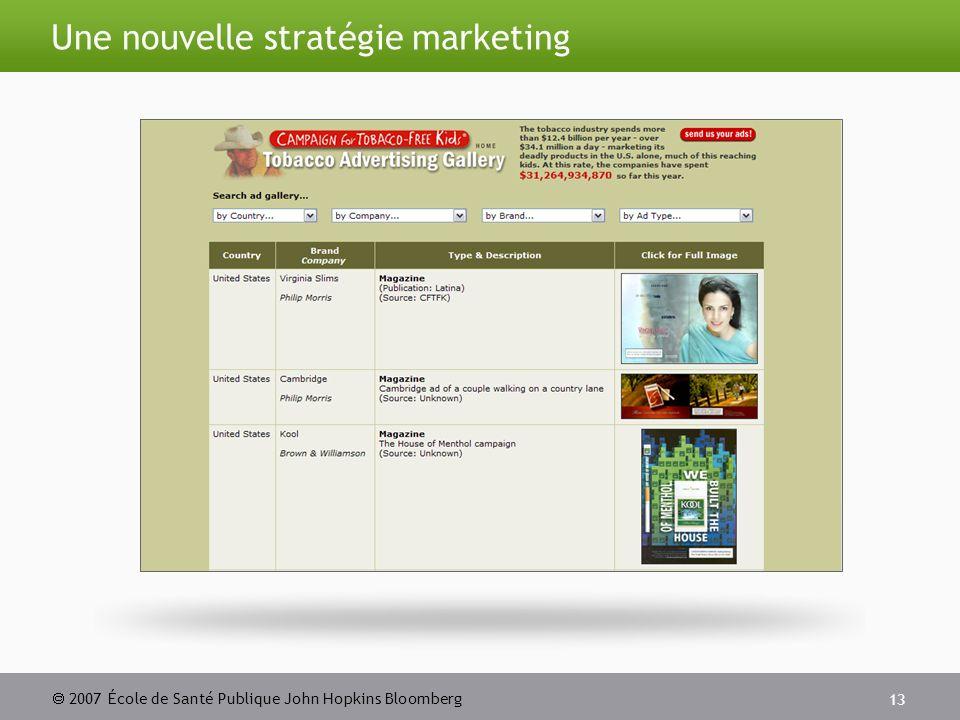 2007 École de Santé Publique John Hopkins Bloomberg 13 Une nouvelle stratégie marketing