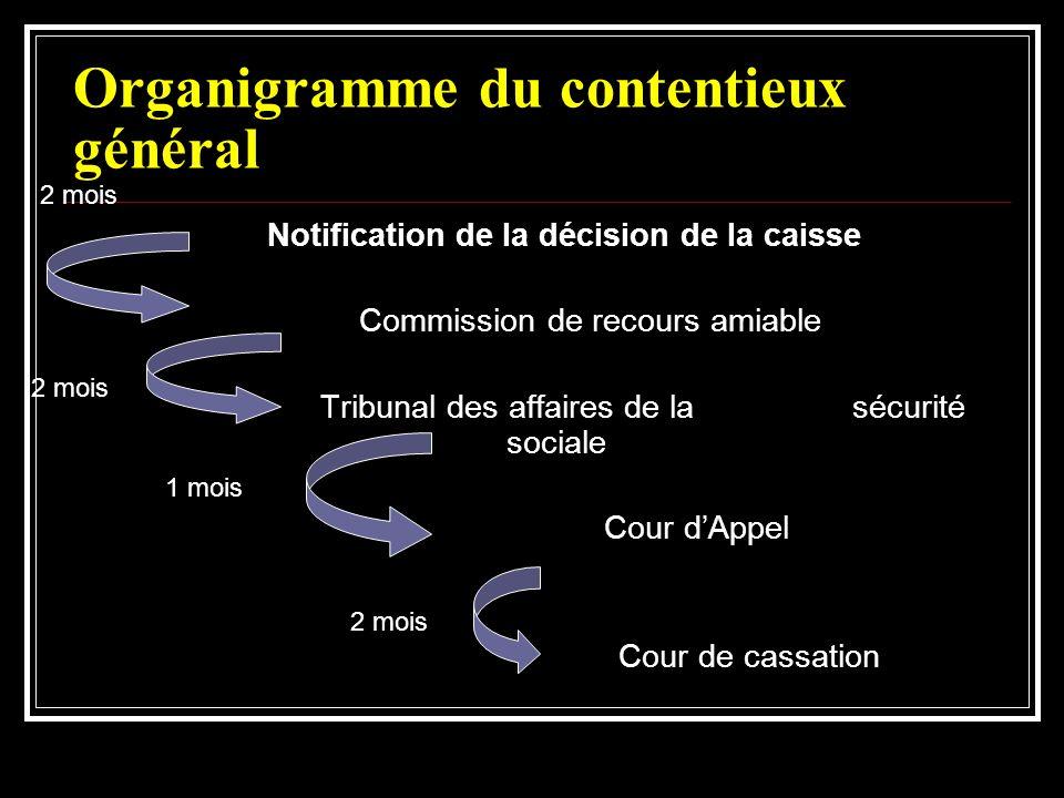 Organigramme du contentieux général Notification de la décision de la caisse Commission de recours amiable Tribunal des affaires de la sécurité social