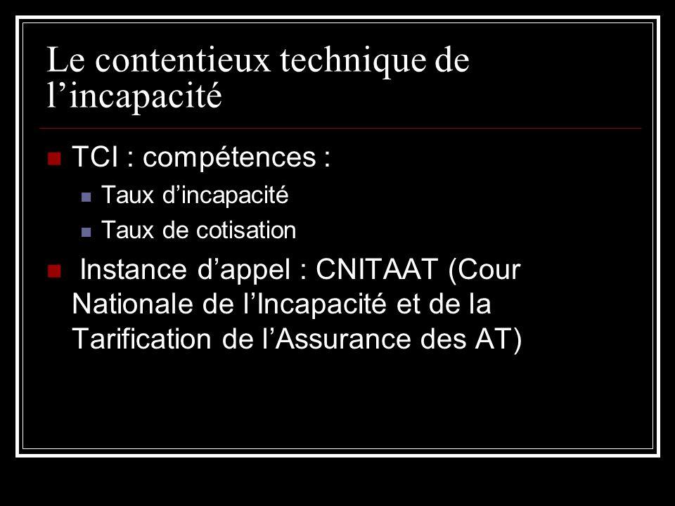 Le contentieux technique de lincapacité TCI : compétences : Taux dincapacité Taux de cotisation Instance dappel : CNITAAT (Cour Nationale de lIncapaci