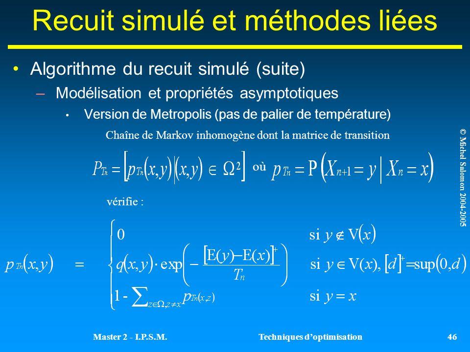© Michel Salomon 2004-2005 Techniques doptimisationMaster 2 - I.P.S.M.
