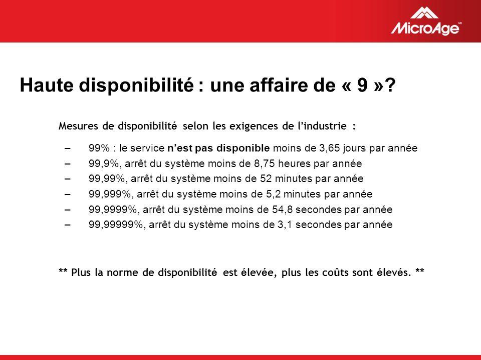 © 2006 MicroAge Haute disponibilité : une affaire de « 9 ».