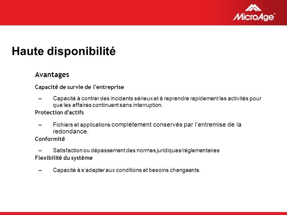 © 2006 MicroAge Haute disponibilité Avantages Capacit é de survie de l entreprise –Capacité à contrer des incidents sérieux et à reprendre rapidement les activités pour que les affaires continuent sans interruption.