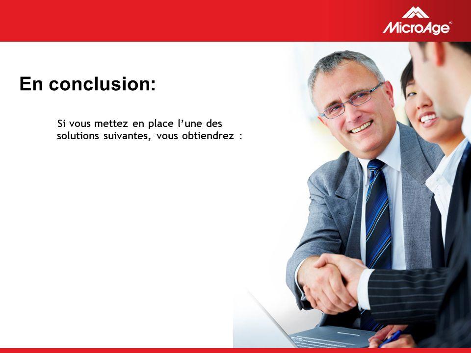© 2006 MicroAge En conclusion: Si vous mettez en place lune des solutions suivantes, vous obtiendrez :
