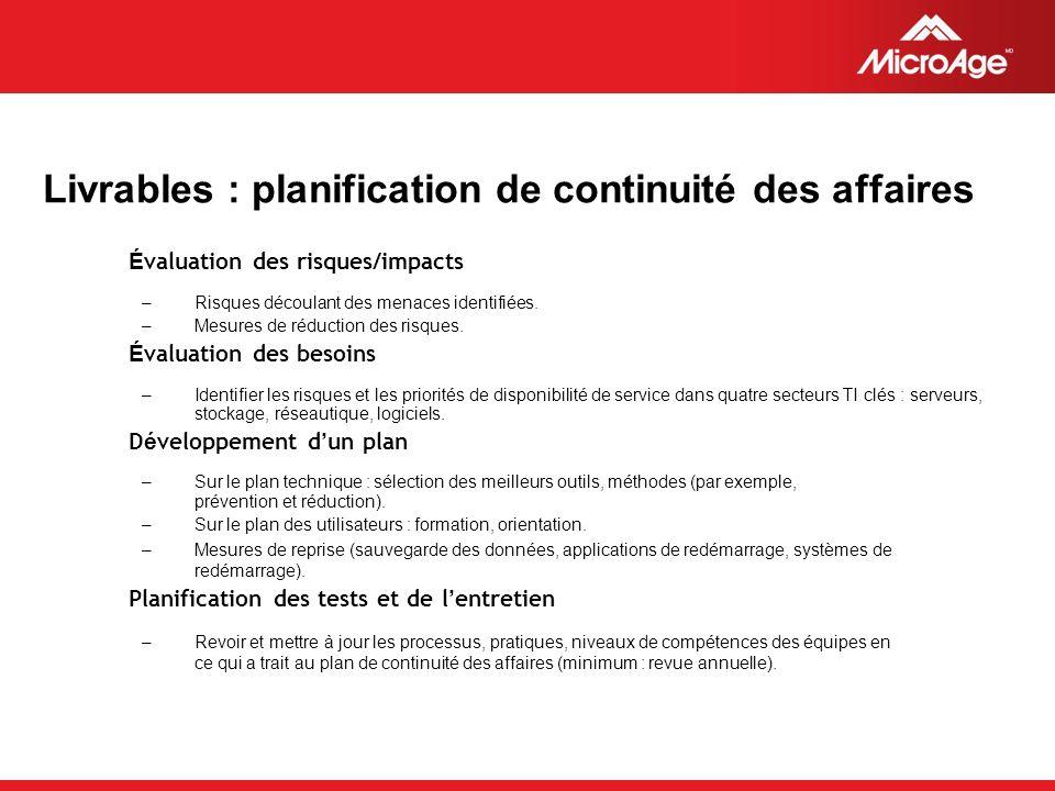 © 2006 MicroAge Livrables : planification de continuité des affaires É valuation des risques/impacts –Risques découlant des menaces identifiées.