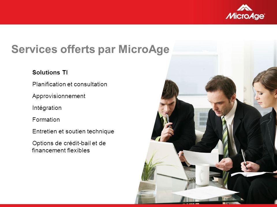 © 2006 MicroAge Services offerts par MicroAge Solutions TI Planification et consultation Approvisionnement Intégration Formation Entretien et soutien technique Options de crédit-bail et de financement flexibles