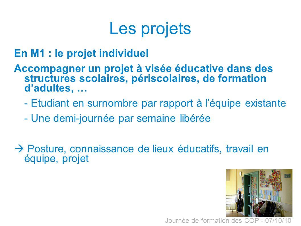 Journée de formation des COP - 07/10/10 Les projets En M1 : le projet individuel Accompagner un projet à visée éducative dans des structures scolaires