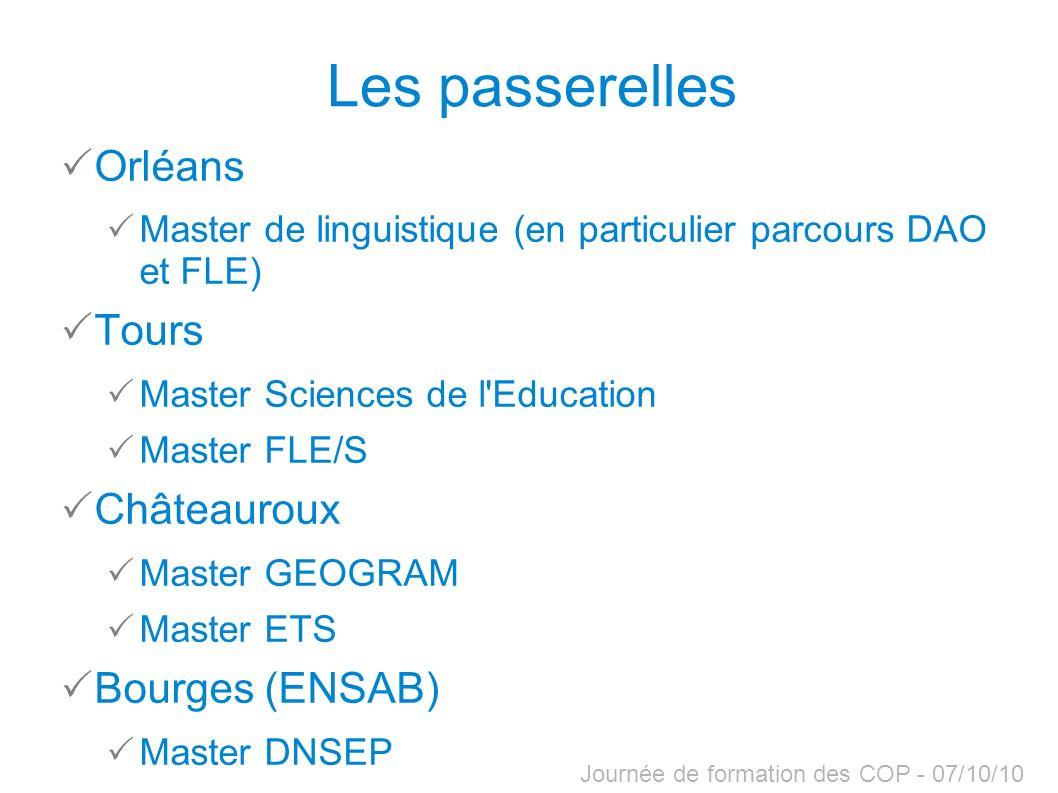 Journée de formation des COP - 07/10/10 Les passerelles Orléans Master de linguistique (en particulier parcours DAO et FLE) Tours Master Sciences de l