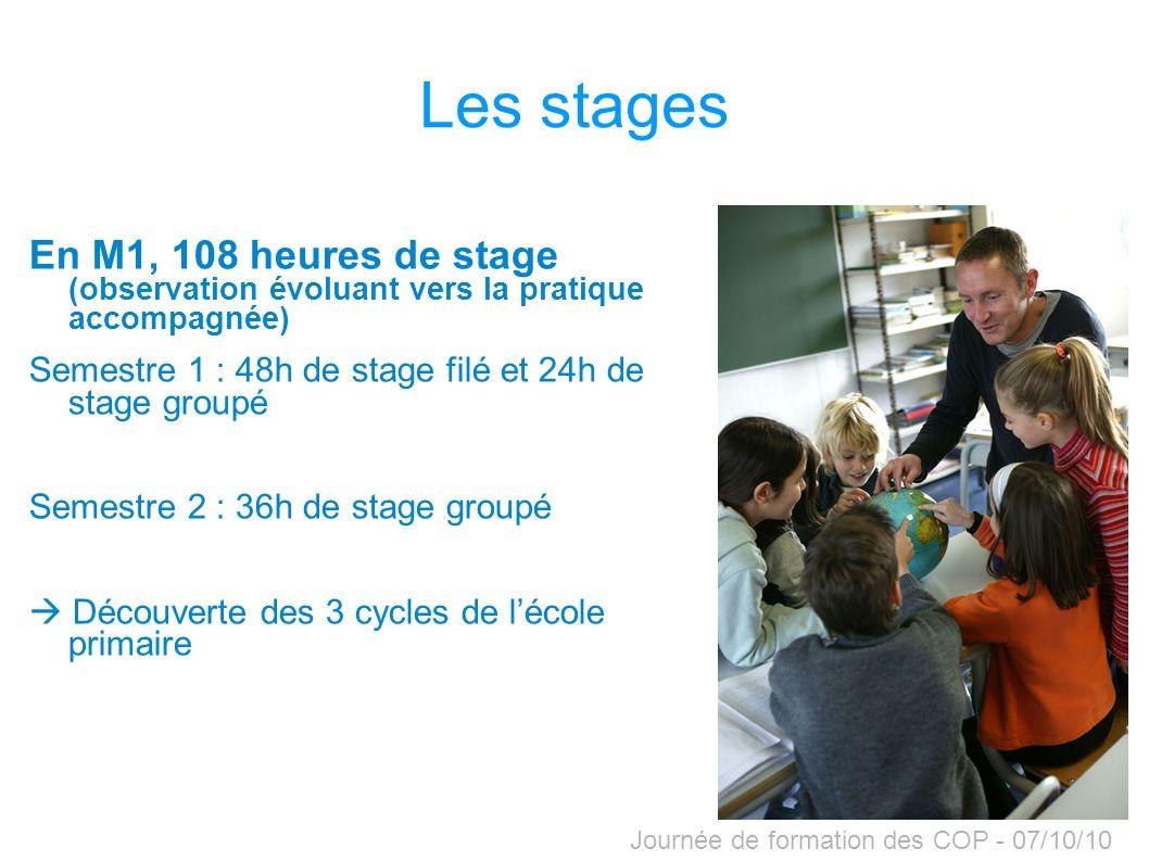 Journée de formation des COP - 07/10/10 En M1, 108 heures de stage (observation évoluant vers la pratique accompagnée) Semestre 1 : 48h de stage filé