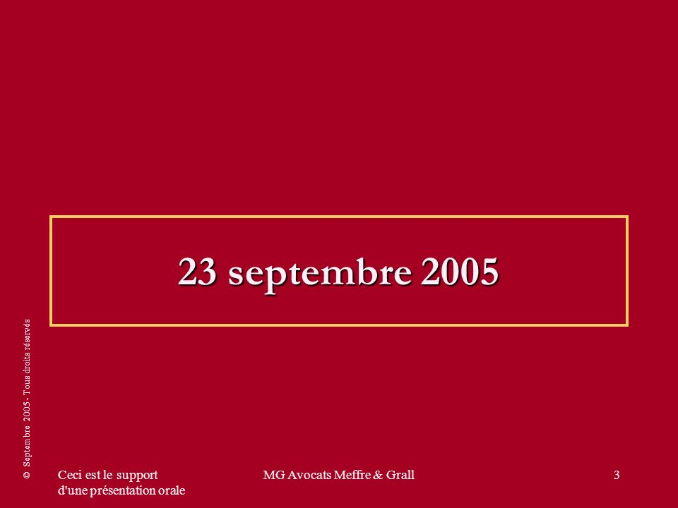 © Septembre 2005 - Tous droits réservés Ceci est le support d une présentation orale MG Avocats Meffre & Grall54 SRP INSTITUE PAR LA LOI DUTREIL : UNE SOLUTION MEDIANE ET DE TRANSITION 1ère hypothèse avec 30 % de marge arrière Prix tarif100 Remises promotionnelles + logistiques + Ristourne inconditionnelle + ristourne conditionnelle acquise (sur facture) 20 Prix unitaire net80 [30 % – 20 % (taux visé dans la loi) = 10 % de 80, soit 8 euros] Marge arrière totale : coopco + autres avantages financiers : 30 % dont 10 % réintégrable [30 % – 20 % (taux visé dans la loi) = 10 % de 80, soit 8 euros] - 8 Nouveau Seuil de Revente à Perte versus un SRP actuel de 80 et un trois fois net de 55 .