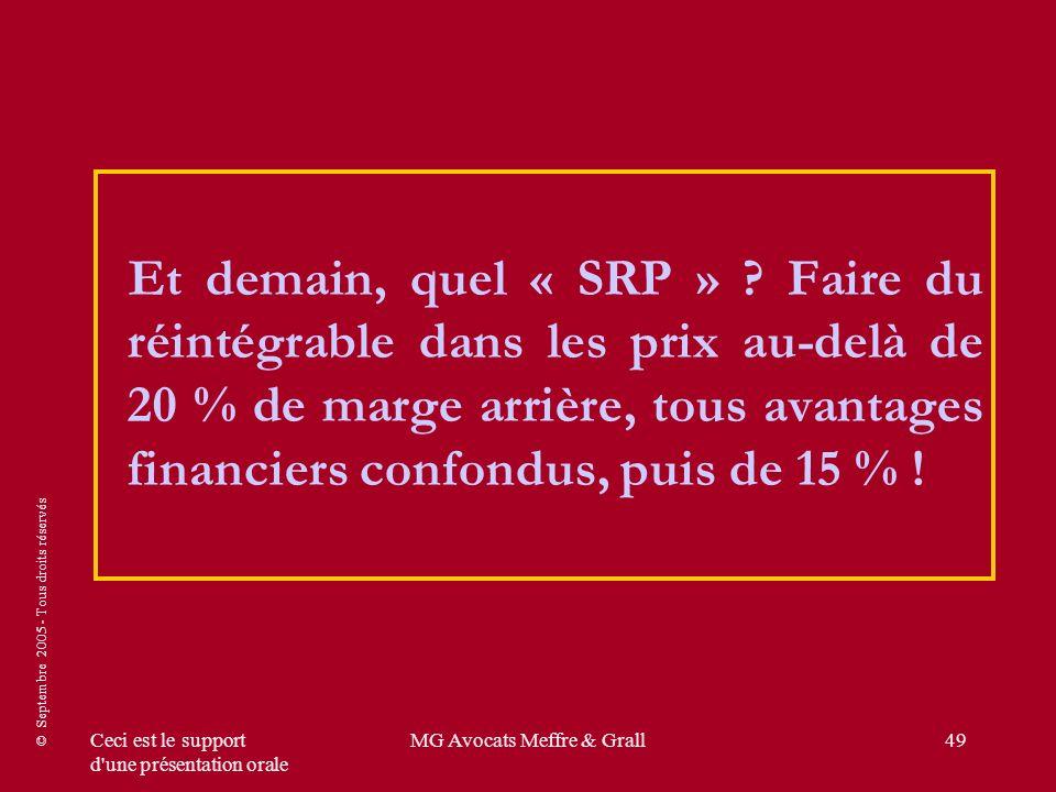 © Septembre 2005 - Tous droits réservés Ceci est le support d'une présentation orale MG Avocats Meffre & Grall49 Et demain, quel « SRP » ? Faire du ré