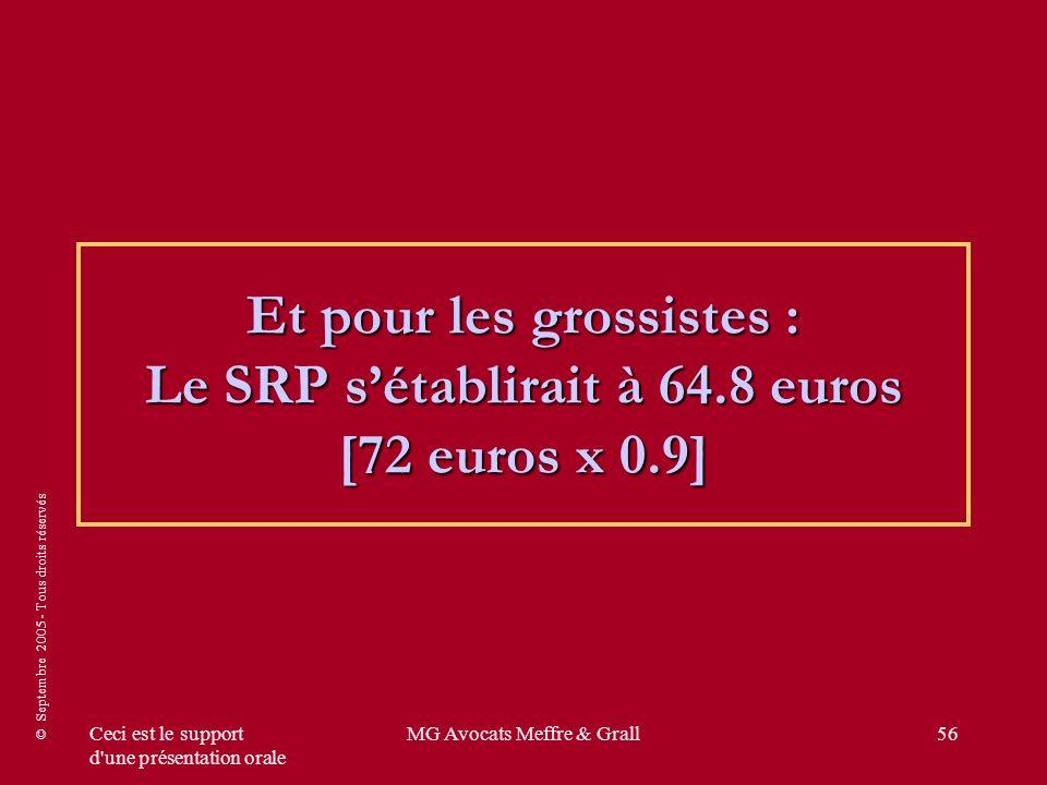 © Septembre 2005 - Tous droits réservés Ceci est le support d une présentation orale MG Avocats Meffre & Grall56 Et pour les grossistes : Le SRP sétablirait à 64.8 euros [72 euros x 0.9]