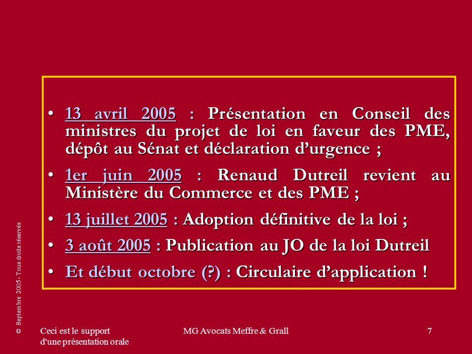 © Septembre 2005 - Tous droits réservés Ceci est le support d une présentation orale MG Avocats Meffre & Grall48 SRP ACTUEL SRP ACTUEL Prix tarif100 Remises promotionnelles + logistiques + Ristourne inconditionnelle + ristourne conditionnelle acquise (sur facture .