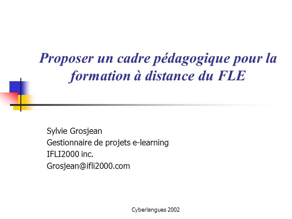 Cyberlangues 2002 Au programme… Un cadre pédagogique fondé sur des principes constructivistes Intégration de cette vision (1) le design pédagogique (2) Le rôle du tuteur Démonstration et discussion