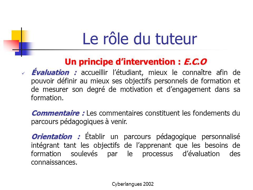 Cyberlangues 2002 Le rôle du tuteur Un principe dintervention : E.C.O Évaluation : Évaluation : accueillir létudiant, mieux le connaître afin de pouvo