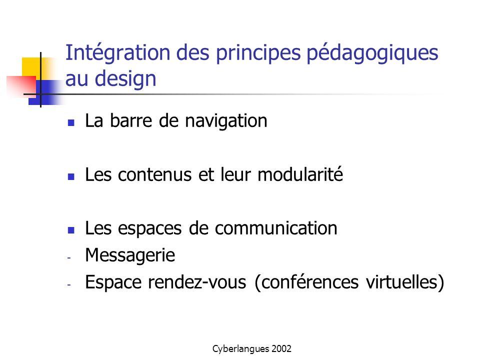 Cyberlangues 2002 Intégration des principes pédagogiques au design La barre de navigation Les contenus et leur modularité Les espaces de communication