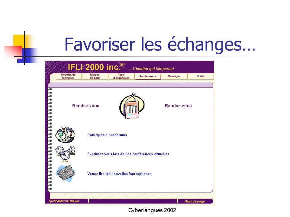 Cyberlangues 2002 Favoriser les échanges…
