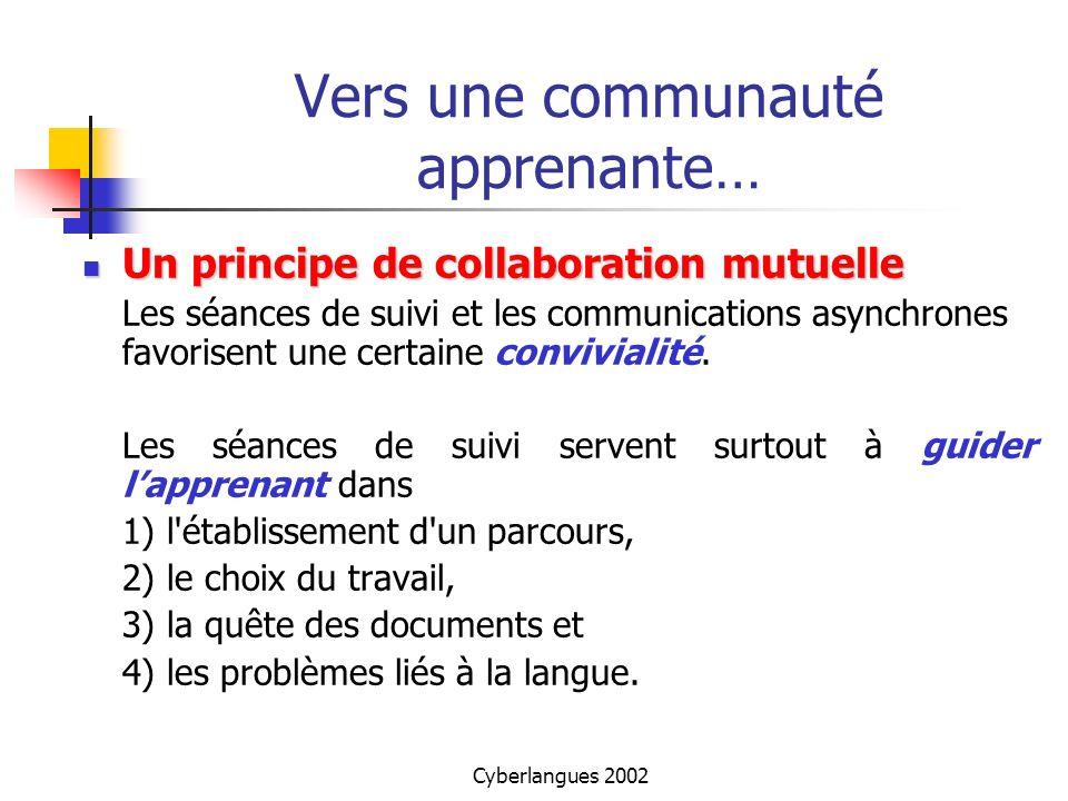 Cyberlangues 2002 Vers une communauté apprenante… Un principe de collaboration mutuelle Un principe de collaboration mutuelle Les séances de suivi et
