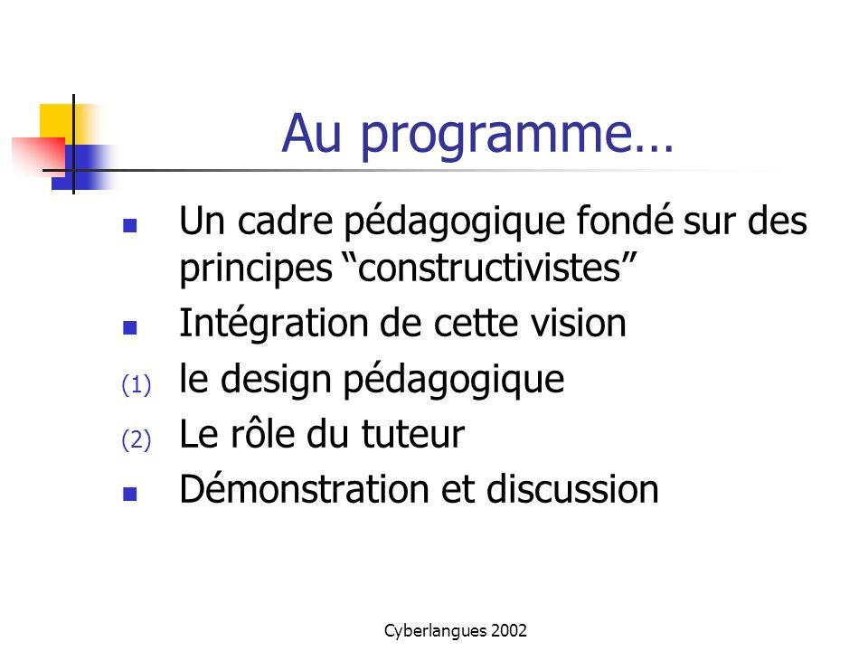 Cyberlangues 2002 Un cadre pédagogique Adopter une position constructiviste Lapprentissage est définit comme un processus de construction des connaissances, contrairement au cognitivisme qui privilégiait lacquisition du savoir.