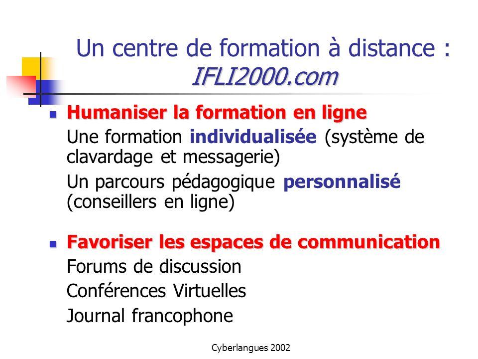 Cyberlangues 2002 IFLI2000.com Un centre de formation à distance : IFLI2000.com Humaniser la formation en ligne Humaniser la formation en ligne Une fo