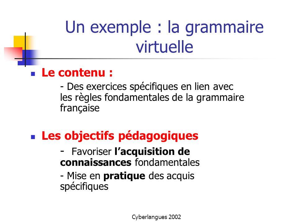 Cyberlangues 2002 Un exemple : la grammaire virtuelle Le contenu : - Des exercices spécifiques en lien avec les règles fondamentales de la grammaire f