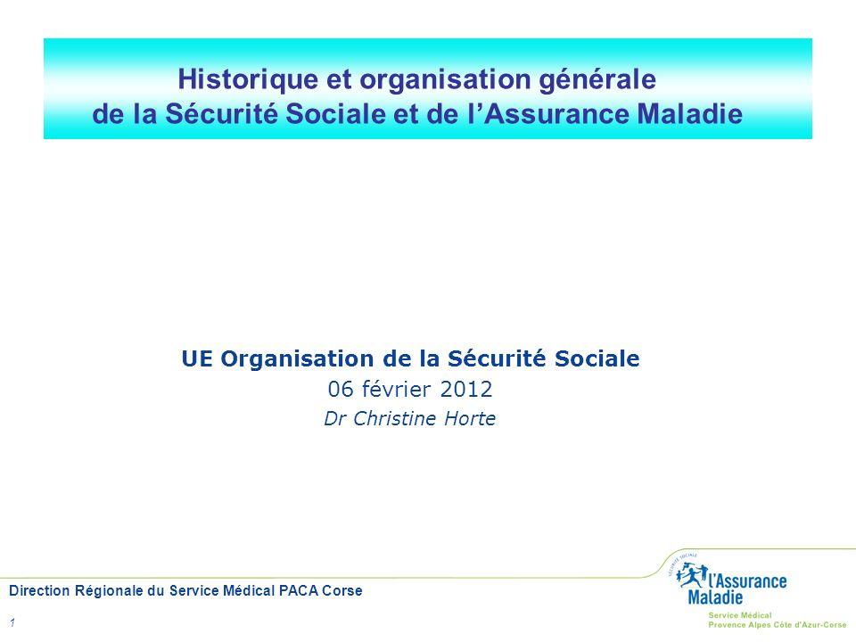 Direction Régionale du Service Médical PACA Corse 1 Historique et organisation générale de la Sécurité Sociale et de lAssurance Maladie UE Organisatio