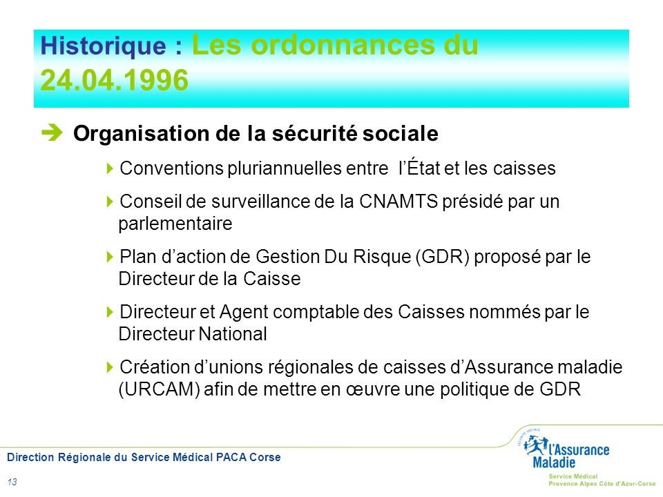 Direction Régionale du Service Médical PACA Corse 13 Historique : Les ordonnances du 24.04.1996 Organisation de la sécurité sociale Conventions pluria