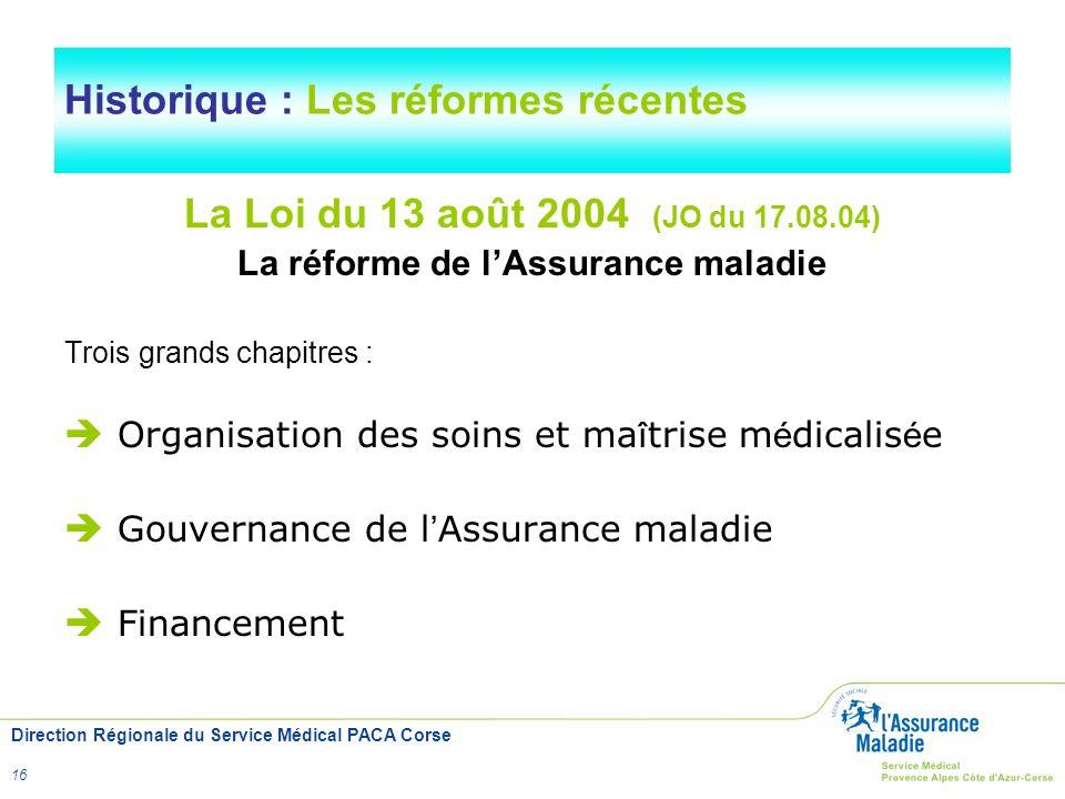 Direction Régionale du Service Médical PACA Corse 16 Historique : Les réformes récentes La Loi du 13 août 2004 (JO du 17.08.04) La réforme de lAssuran