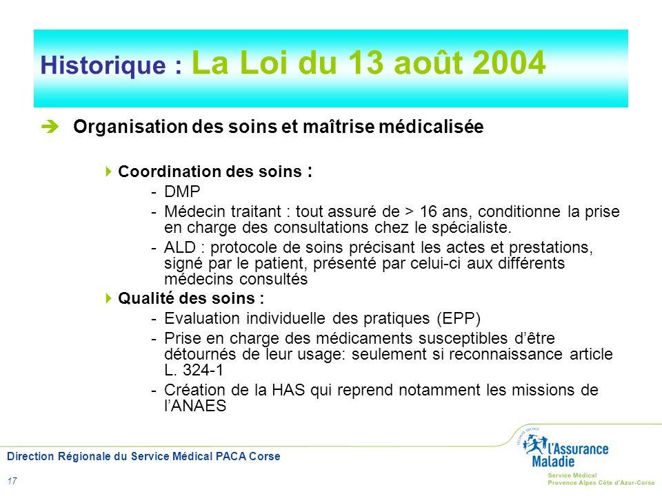 Direction Régionale du Service Médical PACA Corse 17 Historique : La Loi du 13 août 2004 Organisation des soins et maîtrise médicalisée Coordination d