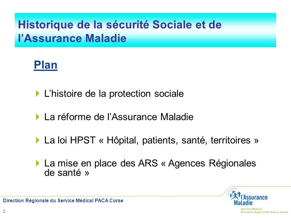 Direction Régionale du Service Médical PACA Corse 2 Historique de la sécurité Sociale et de lAssurance Maladie Lhistoire de la protection sociale La r