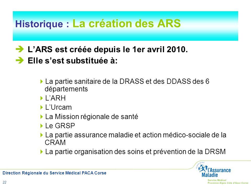 Direction Régionale du Service Médical PACA Corse 22 Historique : La création des ARS LARS est créée depuis le 1er avril 2010. Elle sest substituée à: