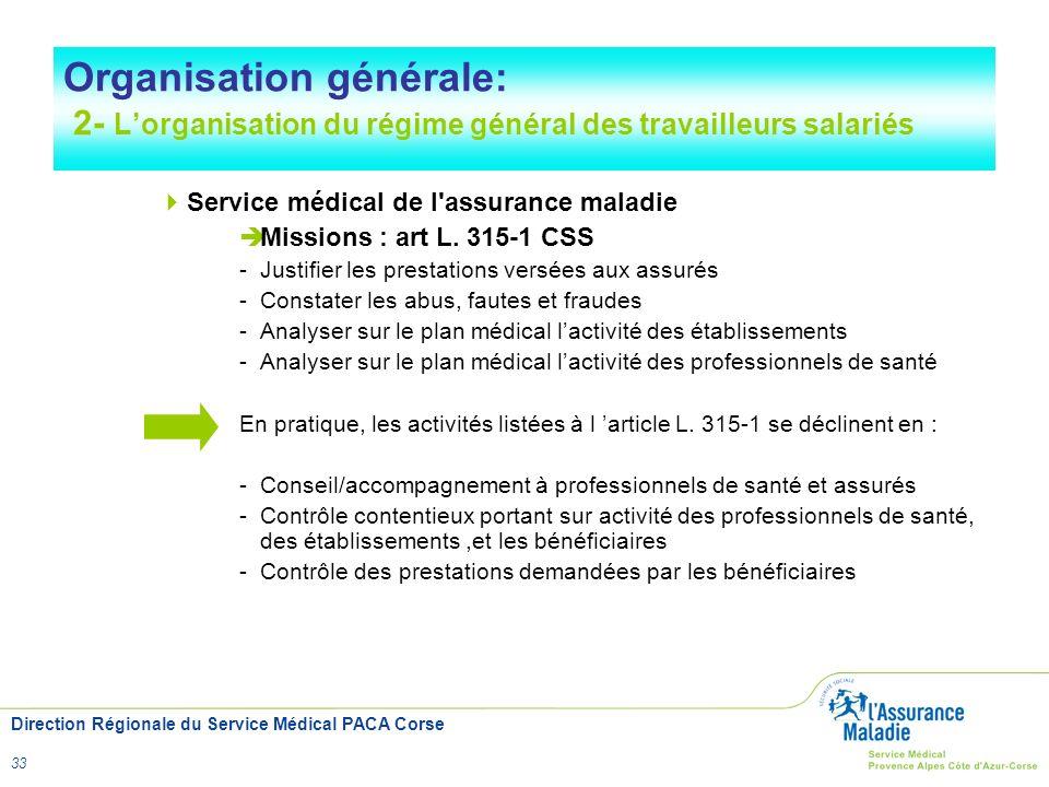 Direction Régionale du Service Médical PACA Corse 33 Organisation générale: 2- Lorganisation du régime général des travailleurs salariés Service médic