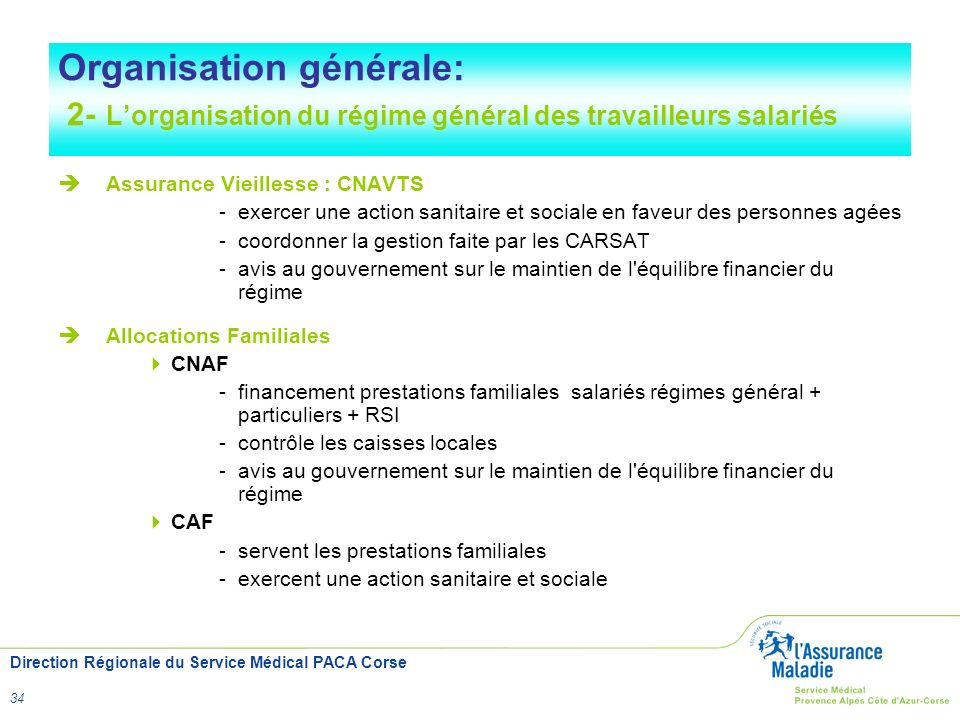 Direction Régionale du Service Médical PACA Corse 34 Organisation générale: 2- Lorganisation du régime général des travailleurs salariés Assurance Vie