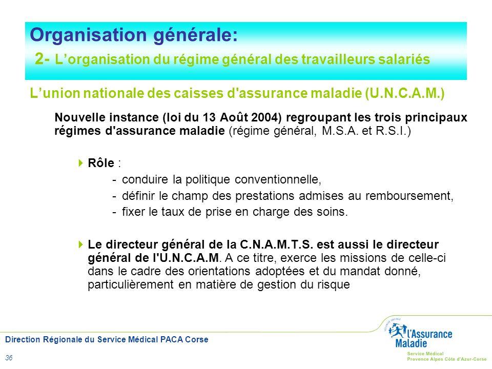 Direction Régionale du Service Médical PACA Corse 36 Organisation générale: 2- Lorganisation du régime général des travailleurs salariés Lunion nation